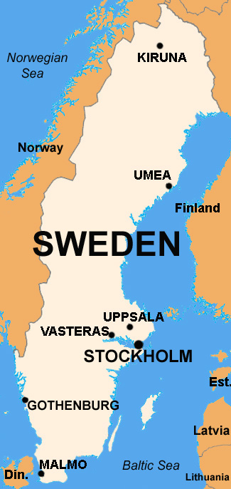 Basic Data Of Sweden Infolaso Tables Of Statistical Data - Sweden map in english