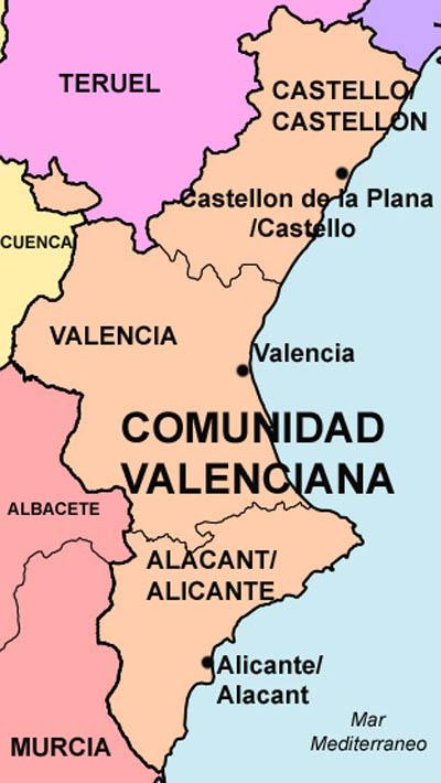 Mapa De Valencia España Comunidad Valenciana.Datos Basicos De La Comunidad Valenciana
